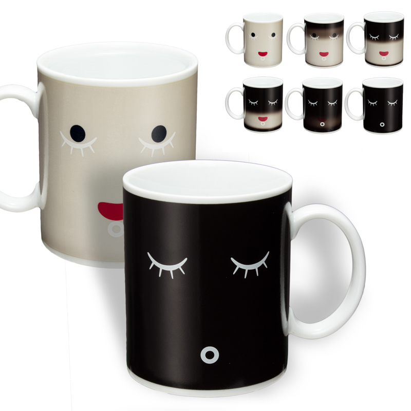 Magic color change Morning Mug coffee tea ceramic mug Black colour smile face black white birthday gift P50(China (Mainland))