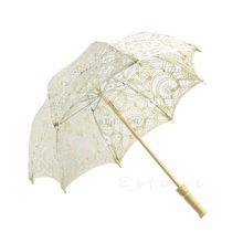 30cm Lace Umbrella Beige Lace Parasol Umbrella Embroidered For Wedding Decoration(China)