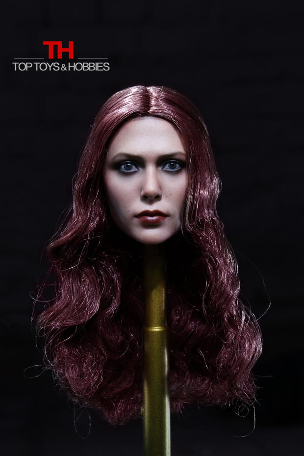 1/6 Scale Elizabeth Olsen Scarlet Crimson Witch Avengers Head Sculpt  Red Long Curly Hairs Female Headplay Doll Accessories<br>