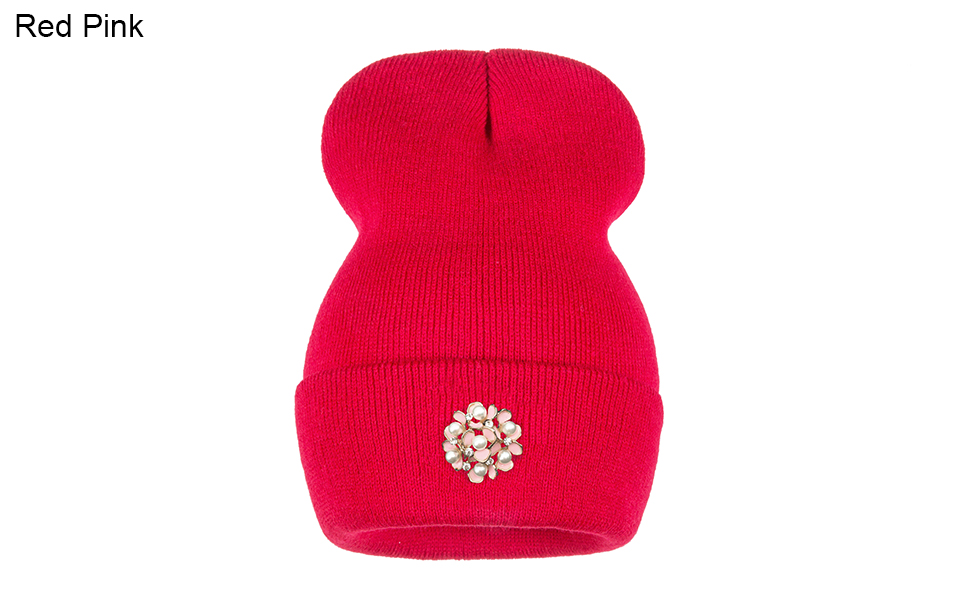Ralferty Winter Hats For Women Flower Beanies Skullies Female bonnet femme gorros cappelli Cap Beanie gorra Black Acrylic Hat 11