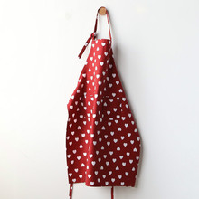 Romantic Love Heart Red Apron Cotton Kitchen Cooking Baking Love Apron Valentine Gift