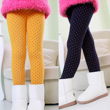 Newest Children Pants Winter Cute Dot Design Girls Leggings Child Long Trousers Kids Baby Pant Toddler Fleece Leggings For Girls