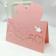 ZLJQ 100pcs Wedding Invitations Laser Cut Love Heart Table Name Place Cards for Birthday Party Supplies Bridesmaid Gift 8D(China)