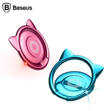 Baseus Universal Phone Ring Holder Stand Cat Ear Finger Ring Holder Mobile Phone Accessories Magnetic Car Holder For iPhone 5 6s(China)