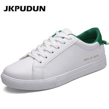 JKPUDUN Fashion Man White Flats Mens Casual Lace Up Shoes Breathable Designer Trainers Classic Shoes Men Black Tenis Zapatillas(China)