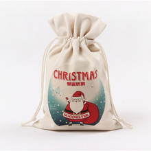 Christmas Santa Claus tree Canvas Drawstring Pouch Storage Bags Jewelry Candy Xmas Gift Bag Decoration 20(China)