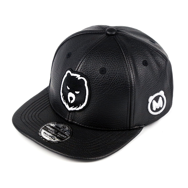 New 2018 Unisex Top Quality Bear Baseball Caps Snapback Gay PU Leather Cap Fashion Fury Bears Hip-Hop Hat Circumference:56-63 cm