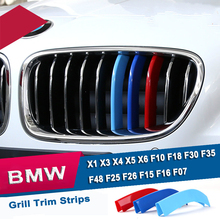 3D M Styling Car Front Grille Trim Sport Strip Cover Motorsport Power Performance Stickers For Bmw 3 5 5GT Series X1 X3 X4 X5 X6