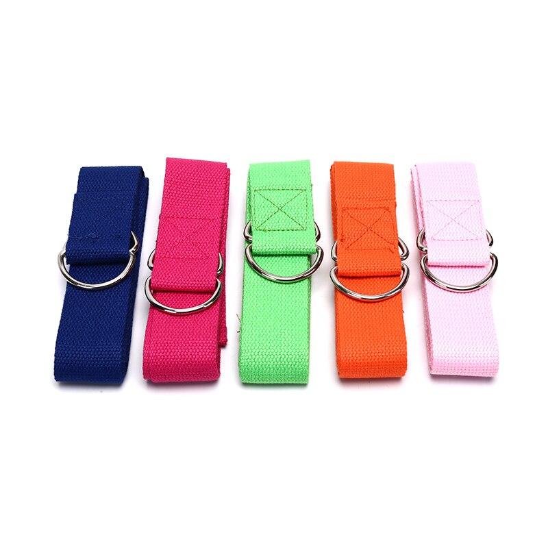 Women Yoga Stretch Strap Fitness Exercise Gym Rope Figure Waist Leg Resistance Fitness Bands Yoga Belt Multi-Colors D-Ring Belt