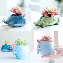 1pcs Natural Resin Cute Animal Design Plant Landscape Flower Pot Planter Garden Decor(China)
