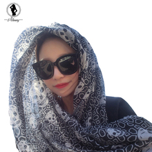 2017 New  summer scarves cotton soft air conditioning scarf shawl casual seaside sunscreen skull print fashion all-match scarf