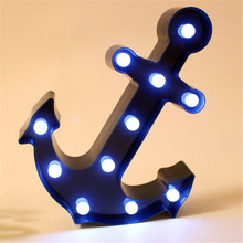 Marquee LED Anchor Light up Lovely Bule Arrow Sign with 11 Warm White LEDs Vintage Christmas Bar Street Decoration 25x33CM(China)
