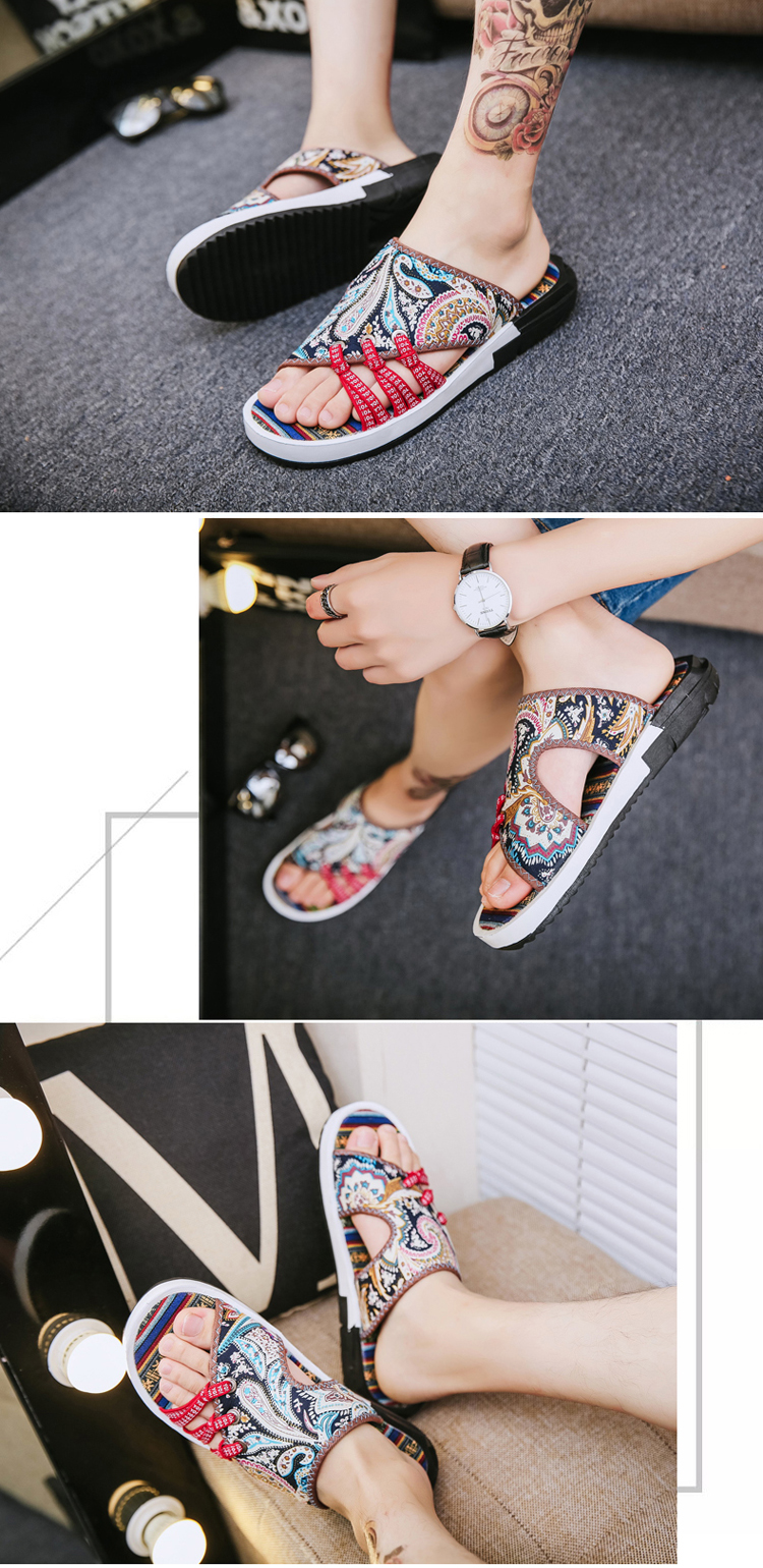 Fashion National style Men Slippers Casual Male Cotton Fabric Summer Outdoor Beach Shoes Non-slip Indoor Floor Leisure ShoesZ172 16 Online shopping Bangladesh