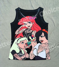 Track Ship+Vintage Vest Tanks Tank Tops Camis Cartoon Tattoo Three Strong Princess Fairy Story 0597