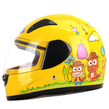 Clearance Sale Cheapest Price Kids baby Helmets safe full face children motorcycle electric bicycle muffler cartoon pink kitty(China)