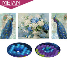 Meian,Special Shaped,Diamond Embroidery,Animal,Peacock,Flower,Full,Diamond Painting,Cross Stitch,Diamond Mosaic,Picture,Decor