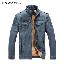 ENWAYEL Autumn Winter Warm Velvet Mens Jackets Coat Patchwork PU Male Leather Jacket Men Casual Windbreaker Faux Leather Coat(China)