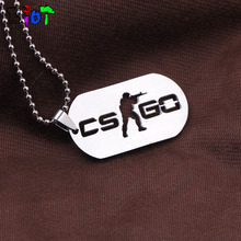 Games CS GO Stainless Steel Round bead chain Pendat Necklace CSGO Male Collier Best Friends Statement men Jewelry fans gift