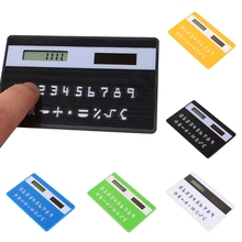 Solar Powered Pocket 8-Digit Calculator New Ultra Slim Mini Credit Card Sized Calculator(China)