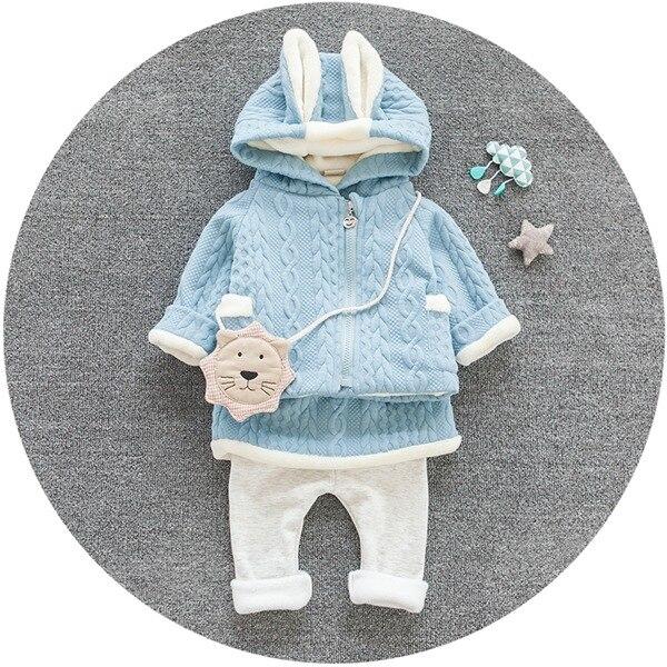 [Bosudhsou.] JH-53 New Chidren Kids girl Clothing Set Autumn Winter 2pcs Sets Hooded Coat Suits Cotton Baby girl Clothes rabbit<br><br>Aliexpress