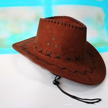 Coffee 1Pcs Fashion Cowboy Hat Suede Look Wild West Fancy Dress Mens Ladies Unisex High Quality(China)