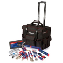 WORKPRO 176PC Mechanic Tool Set with Trolley Bag Sockets Set Screwdriver Tape Measurer Hammer Pliers Level Wrench