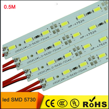 10pcs*50cm Factory Wholesale DC 12V SMD 5730 5630 LED Hard Rigid Strip Bar Light(China)