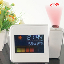 Projection Digital Weather Station LCD Snooze Alarm Clock with Date Temperature Humidity Wake Up Projector Clock Desk Clock(China)