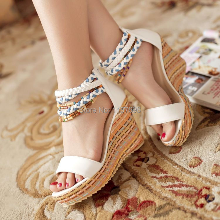 Small yards female sandals 33 national trend wedges sandals bohemia beaded platform shoes platform plus size 43 high-heeled<br><br>Aliexpress