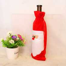 Big Sale Red Wine Bottle Cover Bags Home Decoration Party Santa Claus Christmas Decor