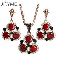 Turkish Wedding Bridal Jewelry Sets Red African Beads Indian Jewelry Accessories Necklace And Earrings Set Parure Bijoux Femme(China)