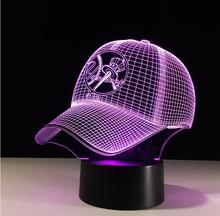 MLB New York Yankees Baseball Team Cap 3D Light Hat Nightlight Led Desk Table Lamp for Kids Sleeping Light Light Up Toy