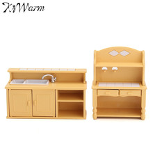 New Miniatures Furniture Household Kitchen Dresser Cabinet Dressing Table Doll House Figurines Ornaments Crafts Christmas Gift(China)