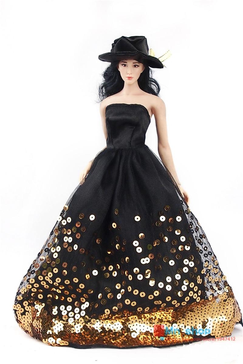 Hot Sale 1/6 Scales Figure Clothes Accessories Sexy Double Black Lace Evening Dress Fit 12 Action Figure P45<br>