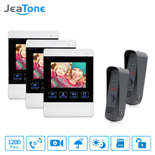 "JeaTone 4"" Wired Color LCD Video Door Phone Intercom Security Camera Hands Free Visual Intercom Record IR Night Vision Touch Key(China)"