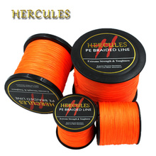 Hercules 4 Strands Fishing Line 100M 300M 500M 1000M 1500M 2000M PE Orange Braid Fishing Line Pesca Strong Carp Fishing Cord(China)