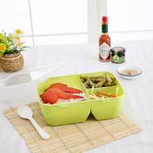 Hot New Plastic 3 Compartments Bento Box Convenient Food Container Student Kids Adults School Office Use(China)