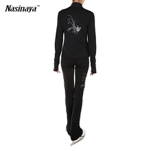 Customized Clothes Ice Skating Figure Skating Suit Jacket And Pants Rolling Skater Warm Fleece Adult Child Girl White Rhinestone