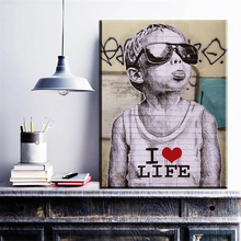 xdr1051 Black and white Banksy Smile Graffiti art prints posters(China)