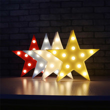 3D Marquee Sign Light 11 LEDs 3D Nightlight Battery Operated Star Shape Letters Light Home Children Bedroom DeCoration Wall Lamp(China)