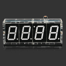 Free Shipping White 1.31 inch 4 Bits Digital DIY kit LED Electronic Clock Microcontroller LED Digital Clock Time Thermometer MCU(China)