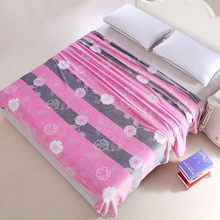 Plush Flannel Fleece Floral Blanket for Bed Sofa Throw Single Twin Full Queen Soft All Seasons Best Gift for Women Grey & Pink