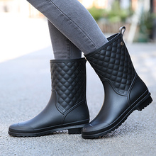 Elegant new style waterproof women rain boots autumn shoes slip-on round toe female boots platform mid calf boot size 36-41(China)
