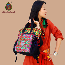 Naxi.Hani Brand designer Bohemia Embroidered patterns canvas casual totes Vintage fashion shoulder messenger bags