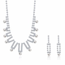 Fashion wedding pendant earrings jewelry crystal Imitation pearl long necklace earrings jewelery sets for wedding CDS028(China)