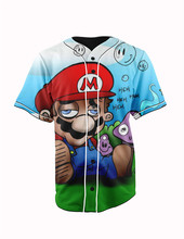 Real American Size  mario stoned  3D Sublimation Print Custom made Button up baseball jersey plus size
