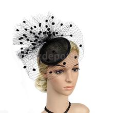 Elegant Women Lady Fascinator Veil Hat Headwear Party Fancy Dress Black(China)