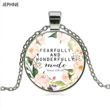 JEPHNE Psalm 139 14 Fearfully and Wonderfully Made Quote Bible Verse Necklace Cabochon Charm Pendant Necklace for Women Men Gift(China)