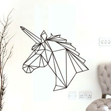 Geometric Unicorn Wall Sticker Removable Horse Head Vinyl Decals Home Decor For Kids Rooms Decoration New Design(China)