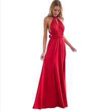 Buy Sexual Women Boho Dress Maxi Club Red Bandage Dress Length Bridesmaid Party Multilateral Convertible Robe Longue Femme 2017